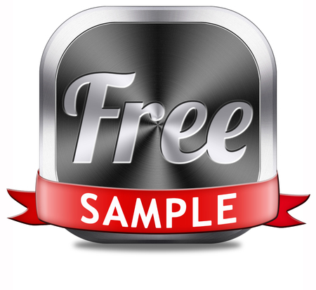 Free product sample offer or gratis download webshop button or web shop icon or sticker photo
