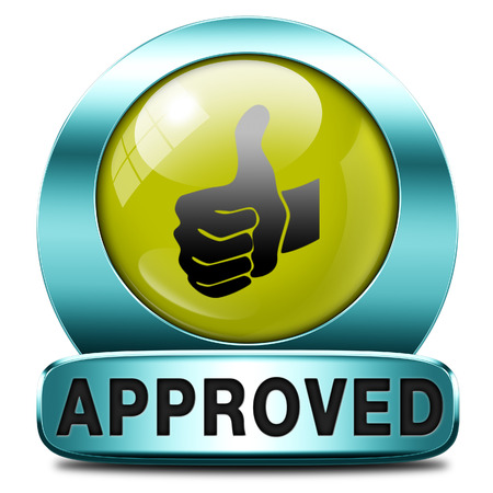 accredited: approved thumbs up passed test and access granted approval and accepted accredited button or icon