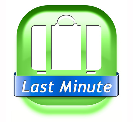 reservation: last minute ticket booking for a flight reservation. Vacation promotion offer sign label or icon.