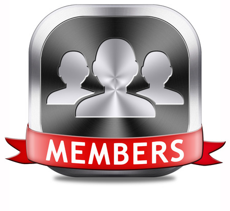 vip area: members only restricted area icon sign or sticker become a member and join here to get your membership application label or button.