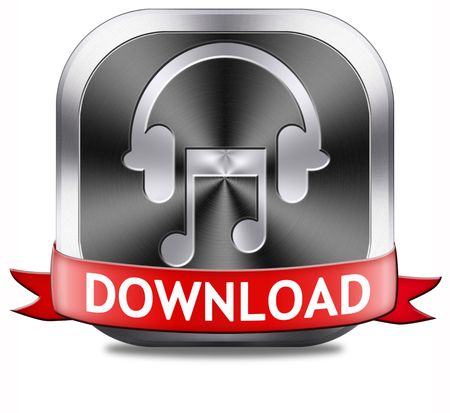 listen live stream: Music download button play and to listen live stream or for downloading mp3 song Stock Photo