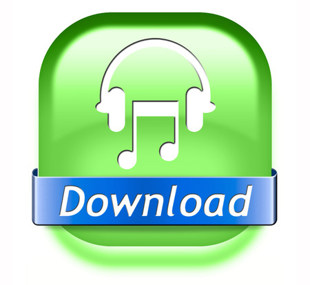 live stream radio: Music download button play and to listen live stream or for downloading mp3 song Stock Photo