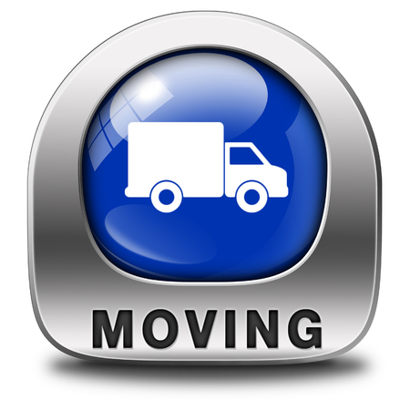Moving or relocation icon a van or truck to relocate to other house or location a button or icon Stock Photo