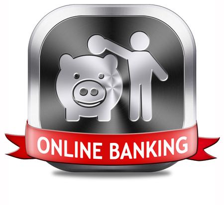 cuenta bancaria: l�nea dep�sito de dinero bancario en el icono de la cuenta de Internet hucha o bot�n Foto de archivo