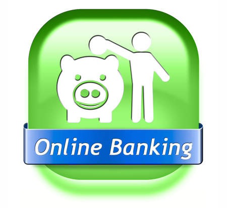 online banking money deposit on internet piggy bank account icon or button photo