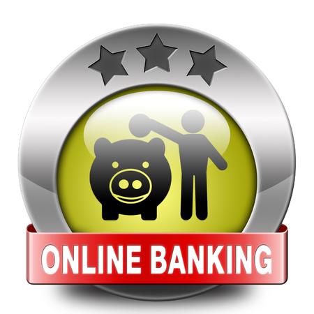 cuenta bancaria: l�nea dep�sito de dinero bancarias en icono de la cuenta bancaria por internet o el bot�n