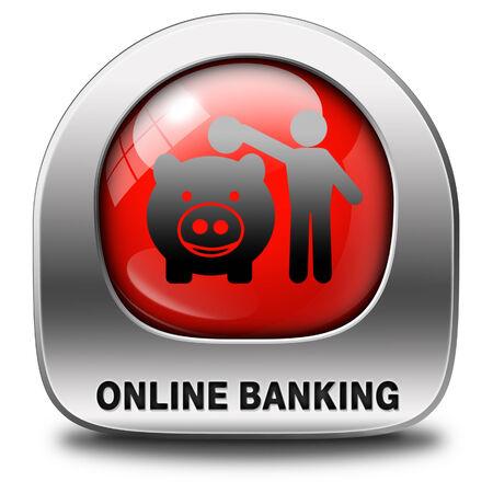 cuenta bancaria: dinero en l�nea de dep�sito bancario en la cuenta bancaria de Internet icono o bot�n