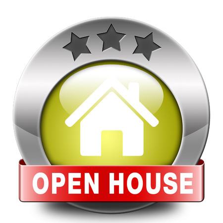 open huis: Open huis teken banner of overbrengen voor het huren of kopen van een nieuw bezoek aan huis van een onroerend goed model huis