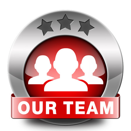 our team: Our team icon or work or business our team banner about us sign or button