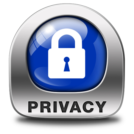online privacy: privacy button or icon protection of personal online data or confidential information, password protected info Stock Photo