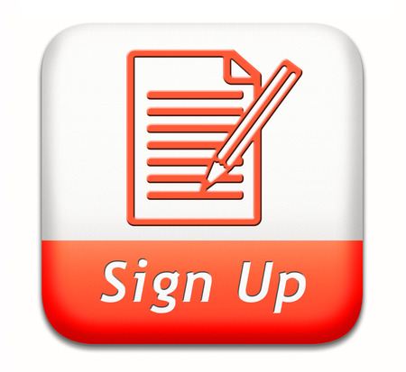 subscribe: sign up or apply now icon and subscribe here for membership. Fill in application form. Stock Photo