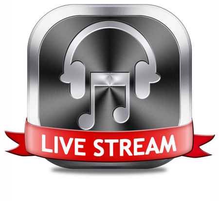 live stream radio: live stream music song audio or listen to radio streaming button or icon Stock Photo