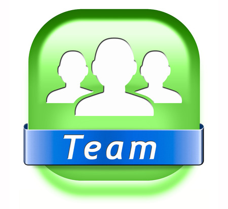 our team: Team button or work or business our team banner about us sign or icon
