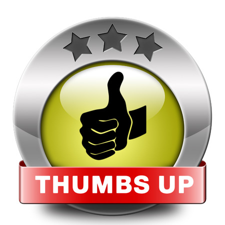 done: thumbs up Good and excellent work, job well done and task finished and accomplished. Sign or icon.  Stock Photo