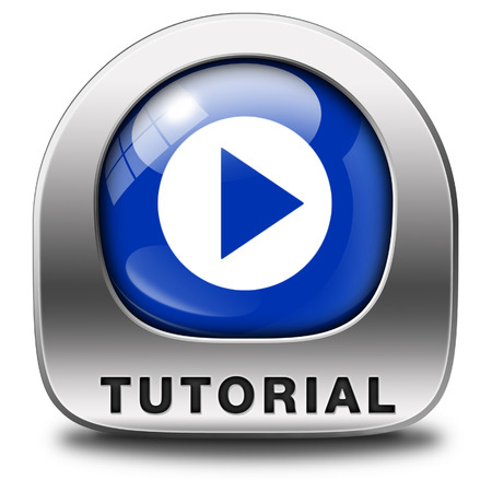 tutorials: tutorial icon  learn online video lesson or class, website education button Stock Photo