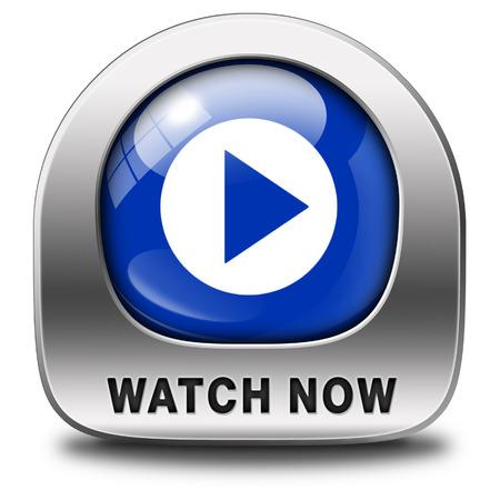 Ver video o película ahora icono o botón de línea. Juega multi media y empezar a ver Foto de archivo - 26969799