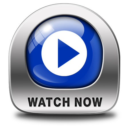 watch video or movie now online icon or button. Play multi media and start watching Stock Photo