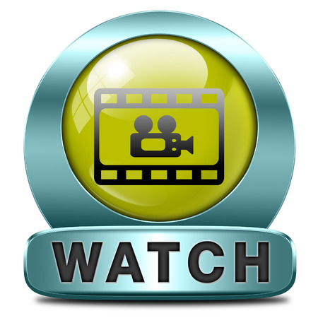 live stream tv: Video play clip or watch movie online or in live stream, multimedia button banner or icon