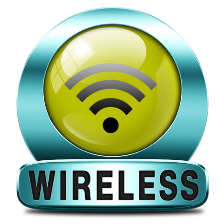 wifi access: wireless free wifi access area and internet access icon or button Stock Photo