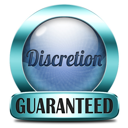 discretion: discretion guaranteed tep secret and confidential personal information discreet icon or button Stock Photo