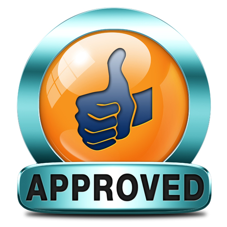 approved thumbs up passed test and access granted approval and accepted accredited button or icon Stock Photo - 28411142