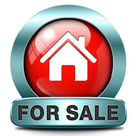 house for sale: For sale banner, selling a house apartment or other real estate sign. Home to buy icon.  Stock Photo