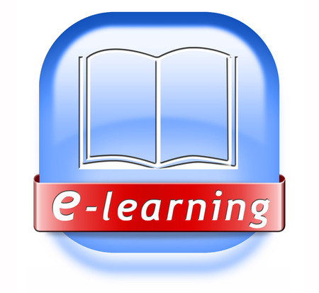 online education: e-learning online education internet learning in open school or university virtual elearning icon button or sign
