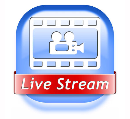 live stream tv: live stream video film or movie on or TV button or icon