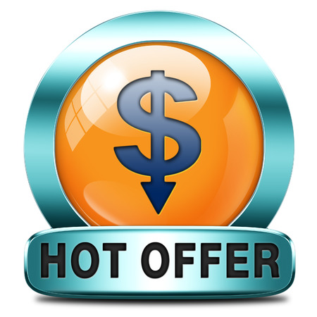 bargain: hot offer icon or sign for online internet web shop. Webshop shopping sales button announcing bargain for low and best price with the best value for you money.