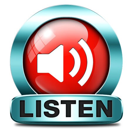 live stream radio: Listen live stream music song audio or radio button or icon Stock Photo