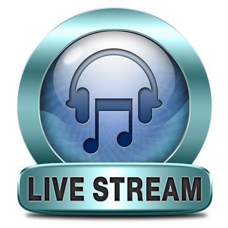 ライブ ストリーム音楽曲オーディオまたはラジオ ボタンまたはアイコンを聞く