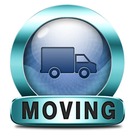 relocate: Moving or relocation icon a van or truck to relocate to other house or location a button or icon