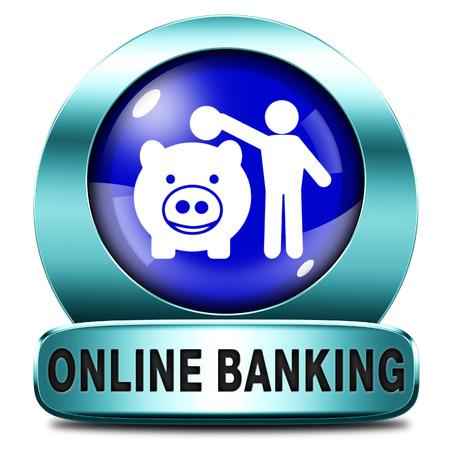 cuenta bancaria: en l�nea de dep�sito de dinero bancarias en icono de la cuenta bancaria por internet o el bot�n
