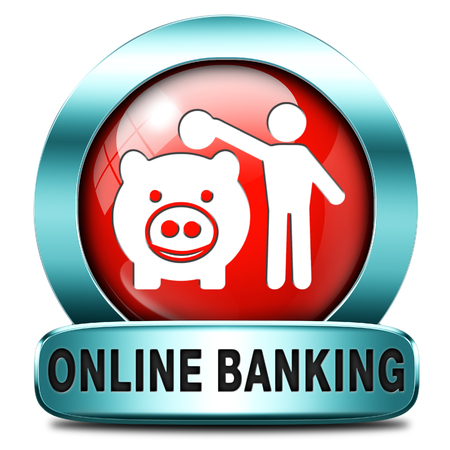 online banking money deposit on internet bank account icon or button photo