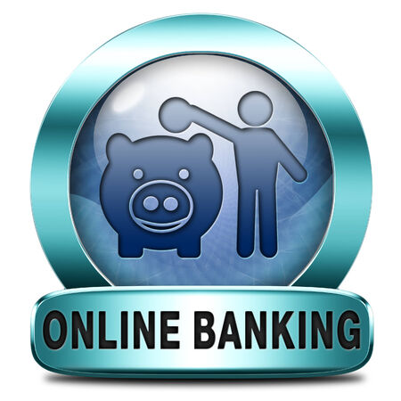 online banking: online banking money deposit on internet bank account icon or button
