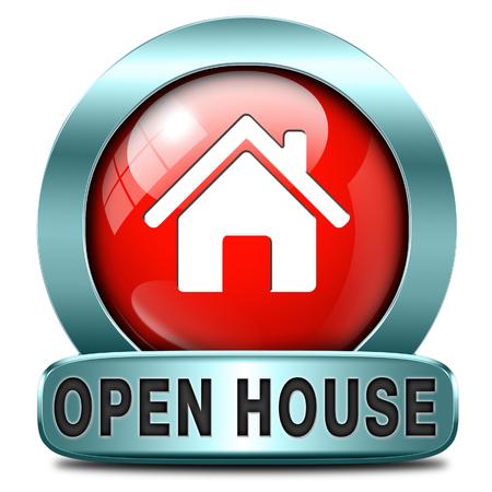 open huis: Open huis teken banner of plakkaat voor het huren of kopen van een nieuw bezoek aan huis van een onroerend goed model huis Stockfoto