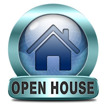 オープンハウス看板バナーや新しい家庭訪問モデル住宅の不動産資産を購入または借りるのためのプラカードは 写真素材