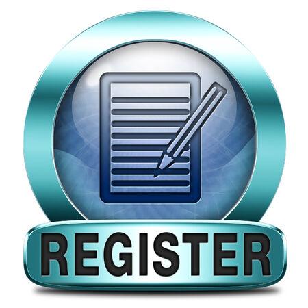 register here en no sign or icon. Membership registration button or sticker. Reklamní fotografie