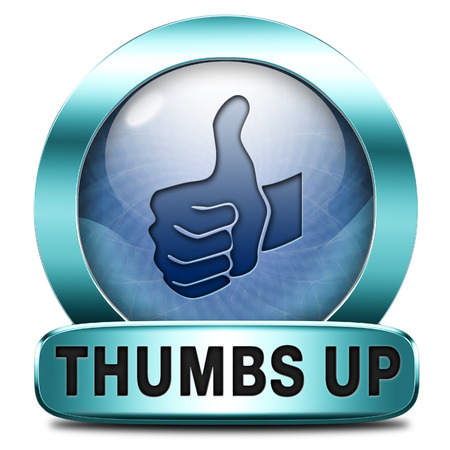 finished good: thumbs up Good and excellent work, job well done and task finished and accomplished. Sign or icon.  Stock Photo