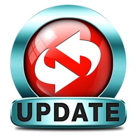 updated: Actualizaci�n de software ahora y aqu� a la �ltima versi�n m�s reciente o nueva edici�n, bandera bot�n o icono Foto de archivo