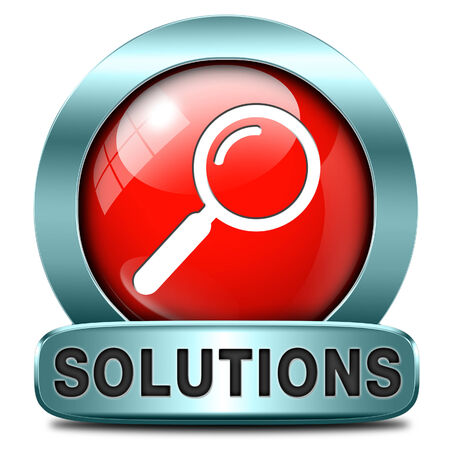 search solution: solutions solve problems and search and find a solution icon button or sign