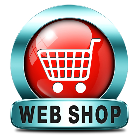 webshop: web shop icon or online shopping button for internet webshop or store