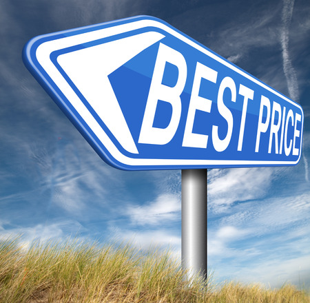 bargain: best price road sign arrow lowest bargain and sale promotion Stock Photo