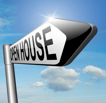 open huis: Open huis pictogram een bezoek aan een model huis voordat je kopen of huren van een nieuw huis of andere onroerend goed