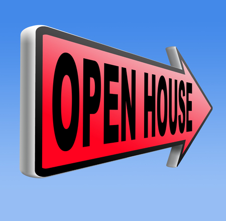Open house placard or icon for buying or renting a real estate property photo