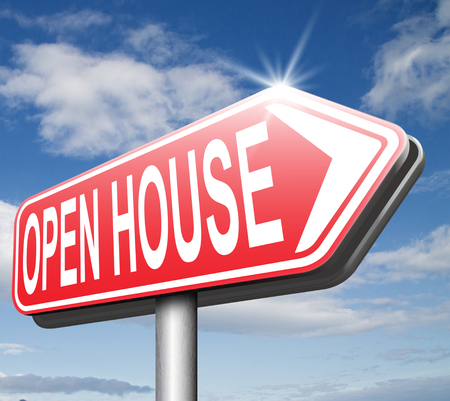 open huis: Open huis teken vastgoed te koop open deur in model huis
