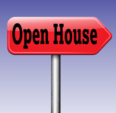 buying real estate: Open house for sale sign at model house for selling or buying real estate property road sign