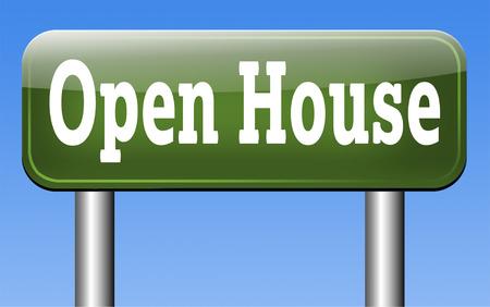 open huis: Open huis teken of pictogram niet kopen of huren van een huis voordat u het onroerend goed of model huis bezoeken Stockfoto
