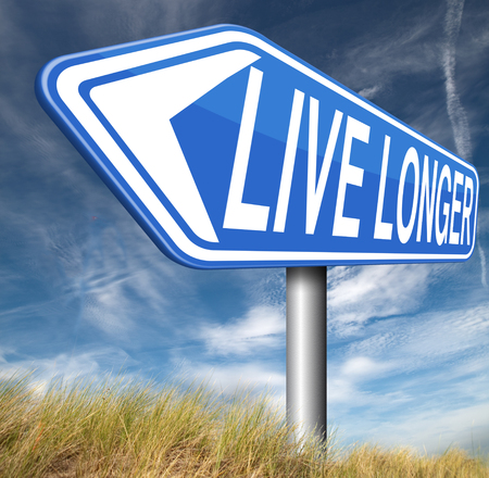 better living: live longer and healthy road sign arrow