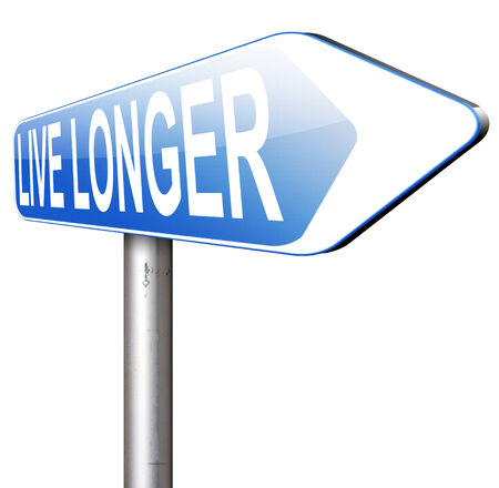 longer: live longer sign or icon. Living healthy and stress free helps longevity and a life in good health Stock Photo
